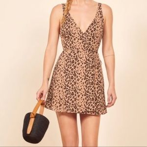 Reformation 🖤 Cheetah / Leopard Mini Wrap Dress